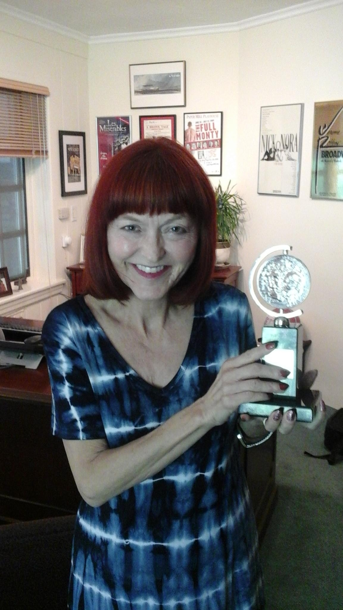 Leslie Fanelli with 2016 Tony Award for Paper Mill Playhouse, where she teaches